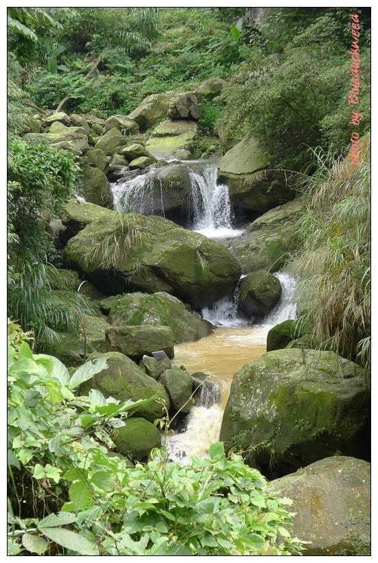 瀑布的水勢清澈透明,但一流下來變成土黃色