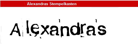 字型:Alexandras Stempelkasten