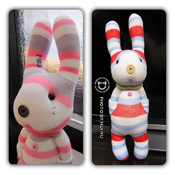 手作-襪子娃娃No51、52「口袋兔」