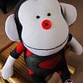 手作-襪子娃娃No63「紅心小猴」1