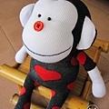 手作-襪子娃娃No63「紅心小猴」2