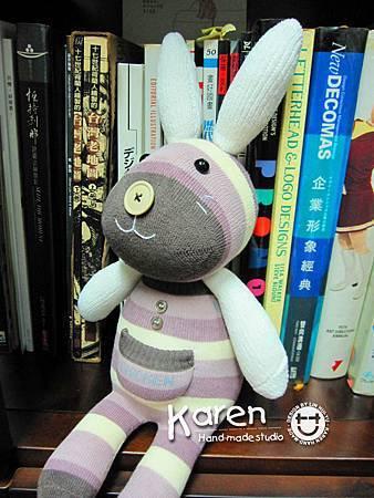 手作-襪子娃娃No67「白耳芋兔」