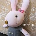 襪子娃娃-粉紅灰衣兔