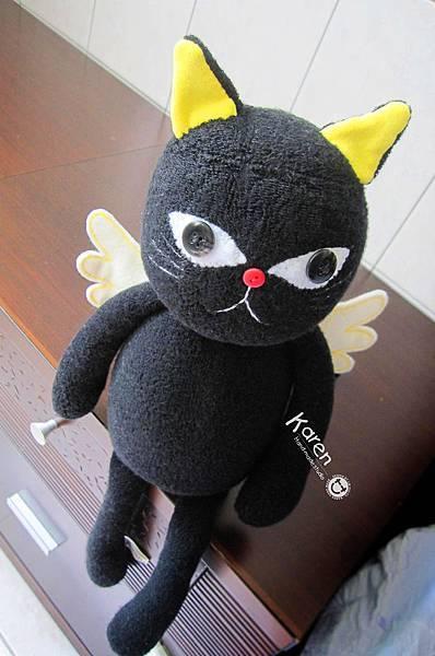 襪子娃娃-天使黑貓