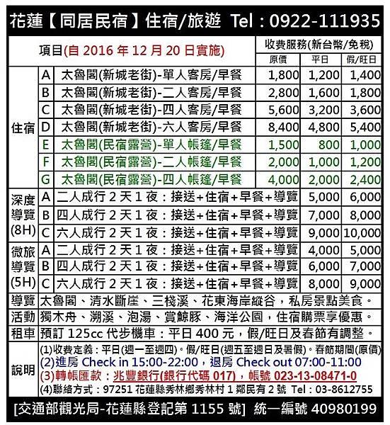2016年12月20日價格表-兆豐銀行