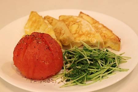 烤蕃茄&豌豆苗