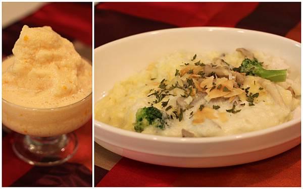 重乳酪松果鮮菇焗飯&番茄優格冰沙
