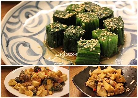 涼拌菠菜+金銀蛋豆腐+香蕈避風塘