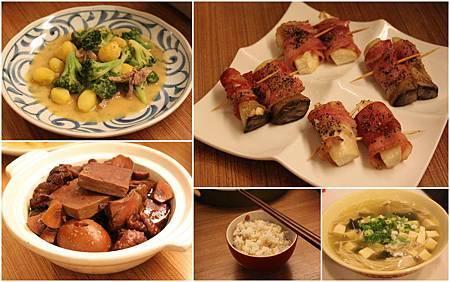 味噌梅酒青花菜+培根杏鮑菇捲+五香滷肉+海帶豆腐湯+十榖飯