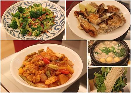 避風塘青花菜+煎下巴+糖醋里肌+火鍋湯