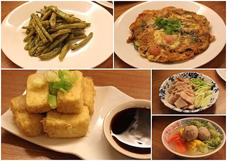 蔥醬四季豆+三層肉+彩椒熱狗烘蛋+炸豆腐+貢丸玉米湯