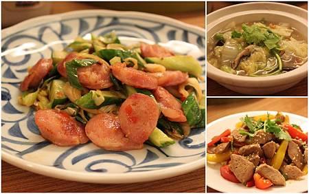 蒜苗香腸+開陽白菜+甜椒炒貢丸