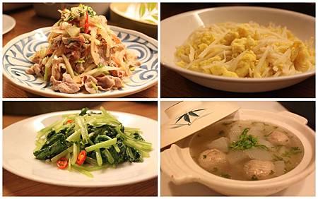 竹筍炒蛋+炒油菜+涼拌薄片西瓜皮+菜頭貢丸湯
