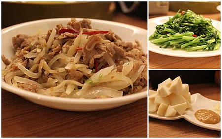 炒空心菜+沙茶菜頭梅花肉+涼筍