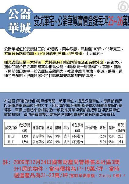 安坑軍宅~公崙華城實價登錄每坪25~26萬-6