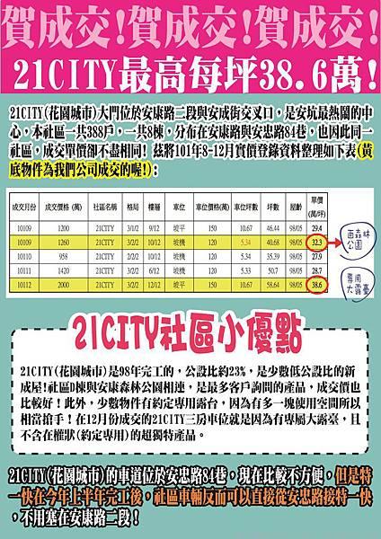 賀成交!  21CITY實價登錄最高每坪38