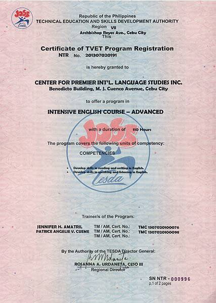 CPLIS - Accredited by TESDA