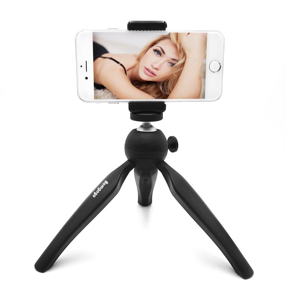 【SL002】GovivoT1可攜式旋轉自拍三腳支架 適用於手機相機 附一手機夾 - 經典黑