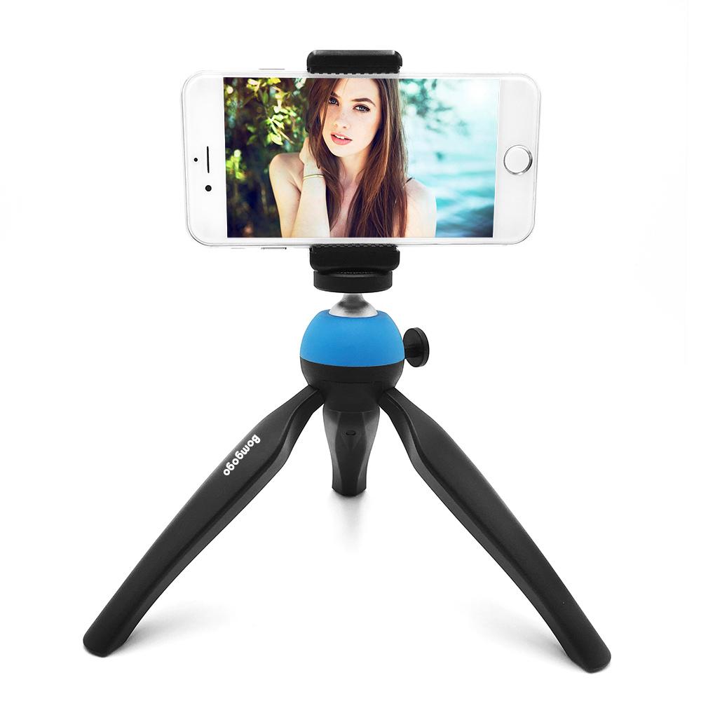 【SL002】GovivoT1可攜式旋轉自拍三腳支架 適用於手機相機 附一手機夾 - 清爽藍