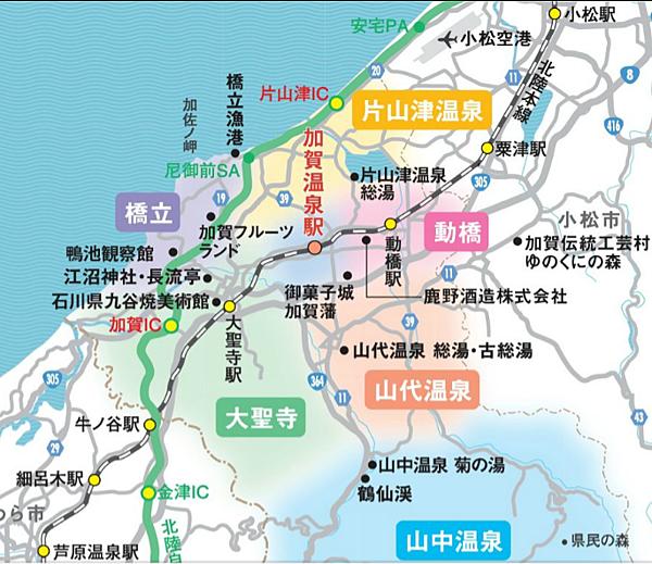 加賀溫泉鄉地圖