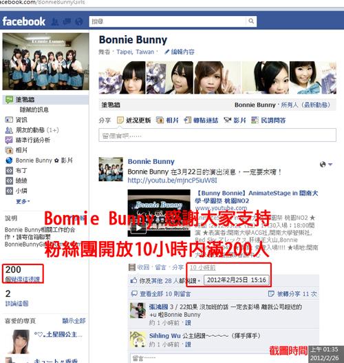 【賀】Bunny Bonnie 粉絲團突破200人