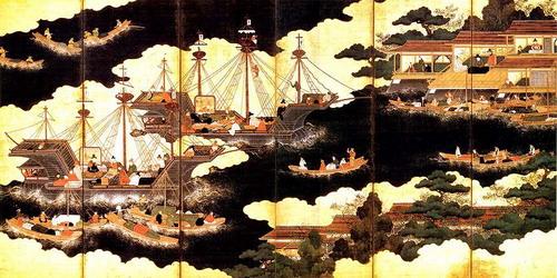 到達日本界港的南蠻船(十六世紀油畫).jpg