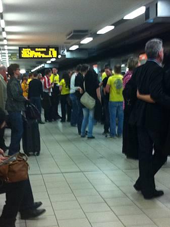 football fans in metro