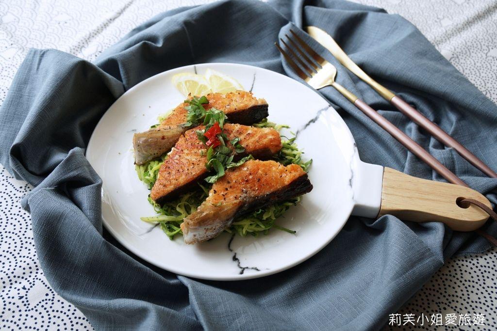 鮭魚櫛瓜麵