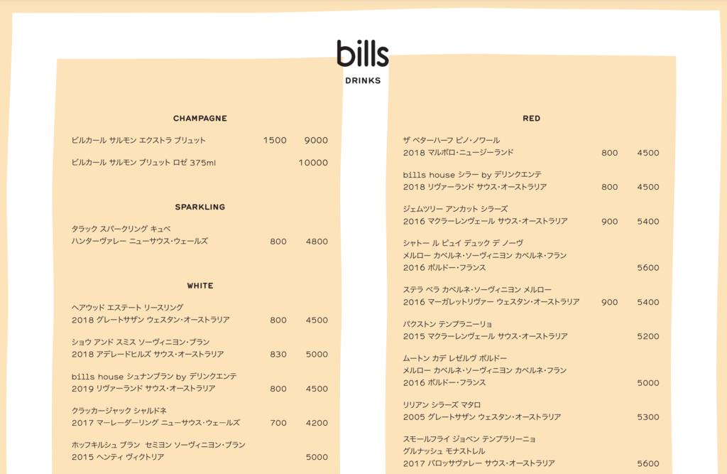bills 菜單