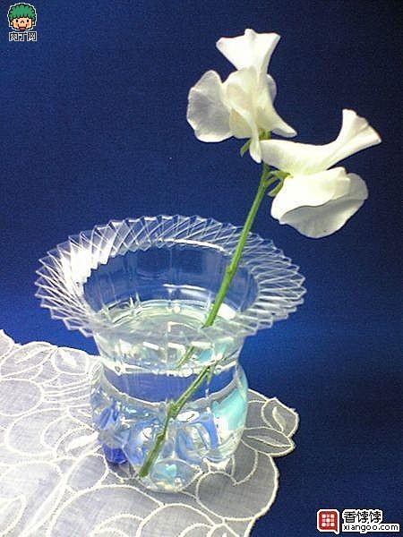 用可樂瓶、礦泉水瓶等塑料瓶做的美麗花瓶1.