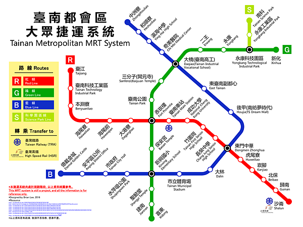 台南捷運-紅綠、藍及科學園區線線