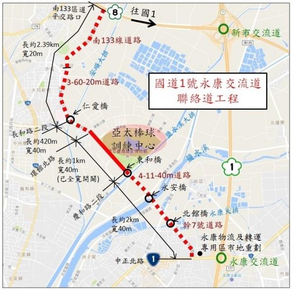 國道1號永康交流道聯絡道工程示意圖