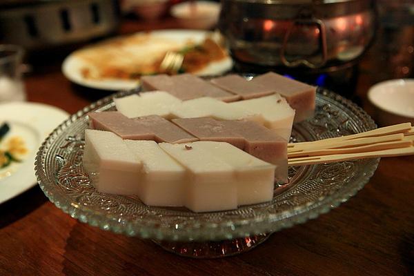 甜點,椰子、紅豆涼糕
