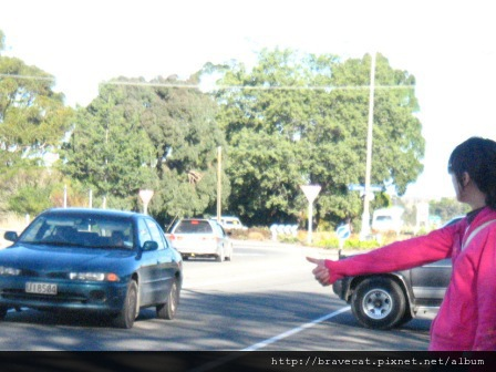 100_0194 Motueka - Hitchhiking,嘿~好心人讓我當個便車吧,因為Happy Apple離市區有一段距離,走路大概要40分鐘,所以想要攔車回去.JPG