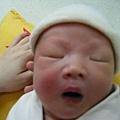 出生第五天,睡倒流口水