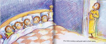 AFHM407-FIVE LITTLE MONKEYS JUMPING ON THE BED-IN