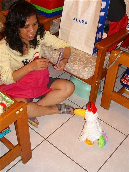 老媽玩起我跟老妹送的可愛公雞,它會走路,而且抓它它還會咕咕叫,非常逗趣