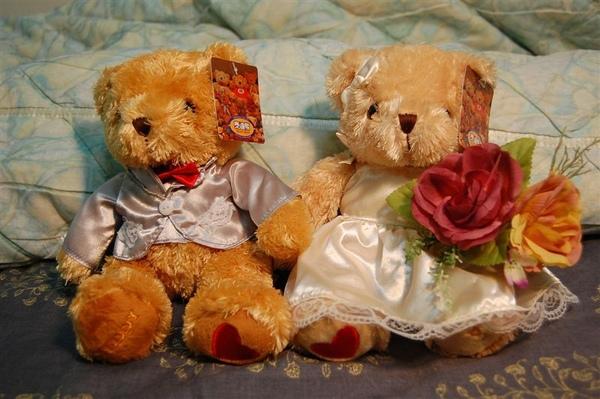 給泰迪熊來張床邊合影