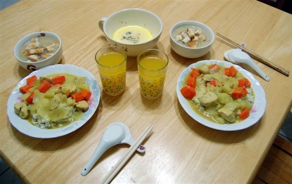 2009-01-08回報永祥上次做的晚餐,我也來一展廚藝,菜色其實蠻簡單的