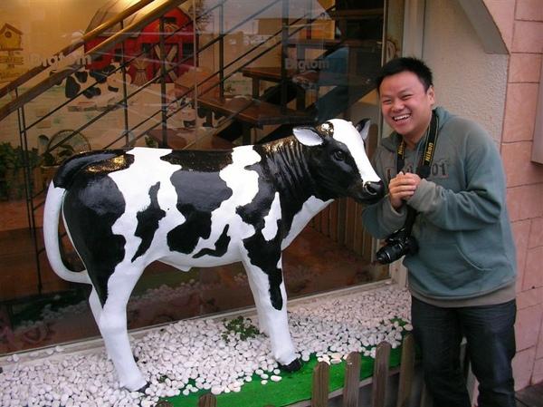 在慧雯的脅迫下,我與店家的乳牛像合拍牛年拜年照