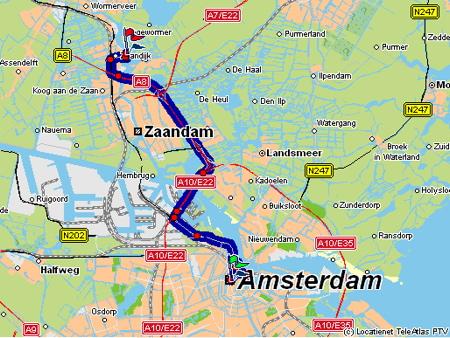 Route Map: Amsterdam - Zaanse Schans