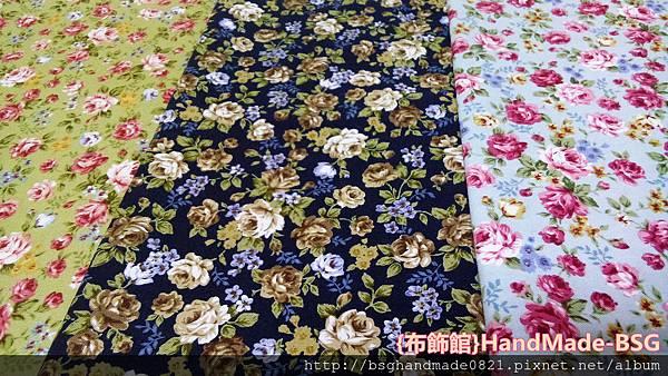 印花棉布:【古典玫瑰花】綠色/黑色/藍色~