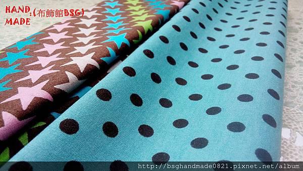 印花棉布:【彩色幸運星】咖啡色&【水玉黑點點】土耳其藍~
