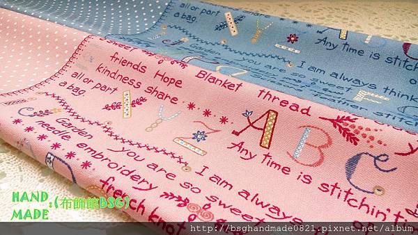 印花棉布:【點點與英文字】暗粉色&藍色~