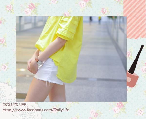 休閒率性的螢光亮黃棉麻上衣