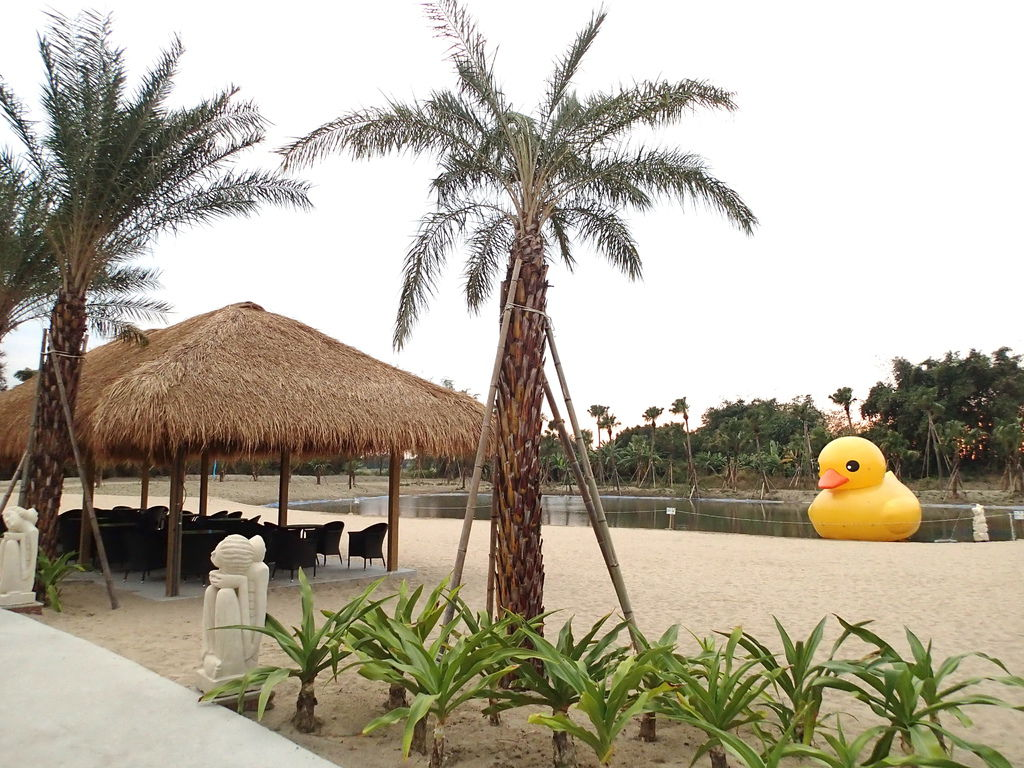 走到另一側..竟然有人工沙灘.還有黃色小鴨