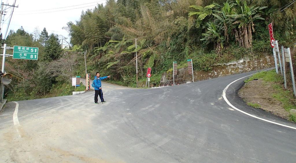 在頂石棹遊客中心前這3條岔路.右邊往上走就會到霞之道步道口.