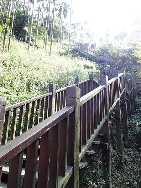走完吊橋後回頭..要往情人吊橋出發..但得爬上這座樓梯..很陡喔!