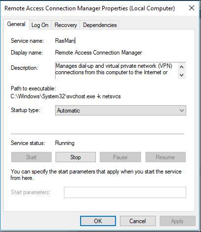 如何start / stop Remote Access Connection Manager service