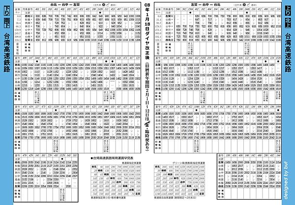 高鐵時刻表(0801)